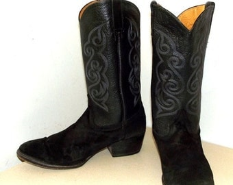 ON SALE Vintage Black Leather and Suede Cowboy boots