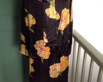 Black silk kimono housecoat