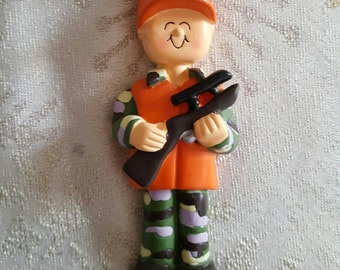 2 LEFT! IMPERFECTION Hunter with Orange Vest, ornament has an imperfection and is being sold at discount