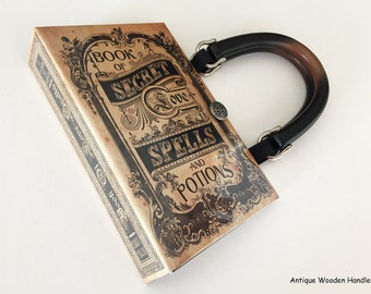 Book of Secret Love Spells and Potions Book Purse - WICCAN Book Clutch - Salem Witch Spells Book Cover Handbag - Love Spells Handbag