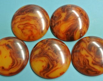 Lot of 5 rare larger vintage 1940s unused round flamy swirled opaque rustybrown/ botteryellow genuin tested bakelite cabochons 23 mms