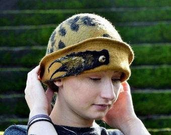 Unique Felt Hat, Felted Cloche, Mustard yellow, Felted wool hats, Womens winter hats, Felt hat for women RESERVED