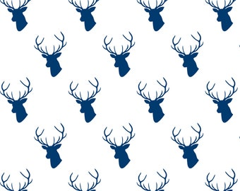 Navy Blue Woodland Fabric - Navy Deer On White By Mrshervi - Navy Cotton Fabric By The Yard With Spoonflower