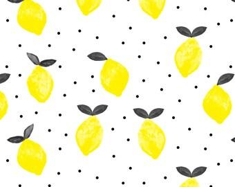 Lemon Fabric - So Fresh Lemons (Black & Yellow) By Littlearrowdesign - Summer Lemon Fruit Citrus Cotton Fabric By The Yard With Spoonflower