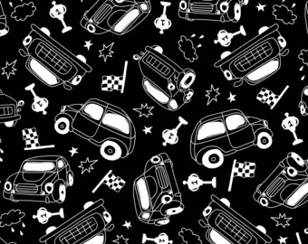 Mini Race Cars Fabric - Racing By Boyusya - Retro Black and White Racecar Vintage Motoring Cotton Fabric By The Yard With Spoonflower