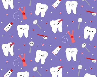 Tooth Fabric - Happy Teeth Friends - Purple By Clayvision - Tooth Kids Floss Toothbrush Dentist Cotton Fabric By The Yard With Spoonflower