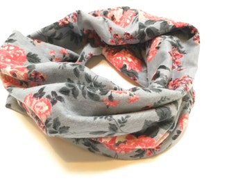 Vintage Coral and Grey Toddler / Child Infinity Scarf