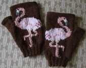 Flamingo fingerless gloves/mitts - hand knit in brown 100% alpaca