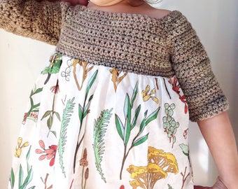 Girls Dress - herbal study fabric - hand knit easter dress - botanical girls dress - botanical baby dress - knit fabric baby dress