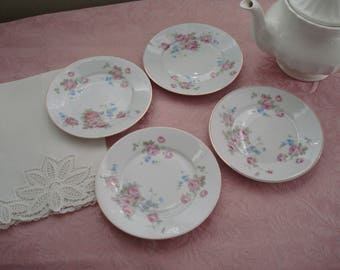 Lovely Shabby Chic Roses Vintage 1940s Dessert Plates, Bread and Butter Plates, Germany Roman V, Pink Roses, Blue Flowers Cottage Shabby