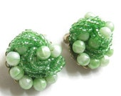 RESERVED for Lena Metlyakova - Marvella Earrings Lime Green Art Beads and Seed Beads Hand Wired Vintage
