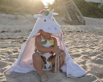 Yikes Twins Unicorn Hooded Towel