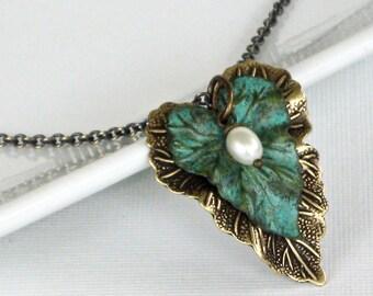 Leaf Necklace - Verdigris Patina Brass, Brass Mixed Metal, Leaf Jewelry, Nature Jewelry