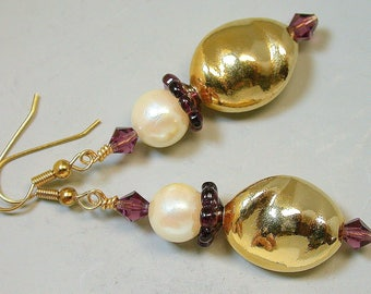 Vintage RARE German Gold Glass Bead Earrings, Vintage White Pearl Glass Beads , Vintage Purple Glass Flower - GIFT WRAPPED