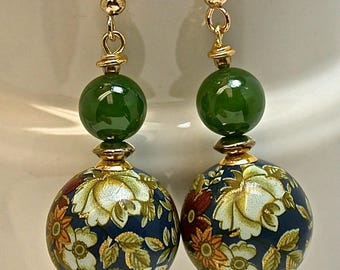 Vintage Japanese Tensha Bead Dangle Drop Earrings, Vintage Nephrite Jade Beads, Vintage Gold Beads - MATCHED SET JEWELRY