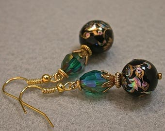 Vintage Japanese Tensha Dangle Drop Black Bead Earrings Turquoise Copper Iridescent, Vintage Teal Green Iridescent Crystal Beads,Gold