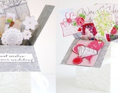 Handmade Wedding or Shower Pop up Exploding Box Card- 2 Variations -- Free ship USA