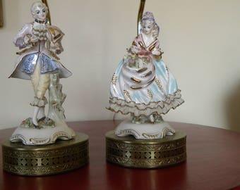 Vintage  Capodimonte Style Porcelain Figural Boudoir Lamps