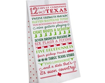 PREORDER 12 Days of Christmas in Texas Tea Towel