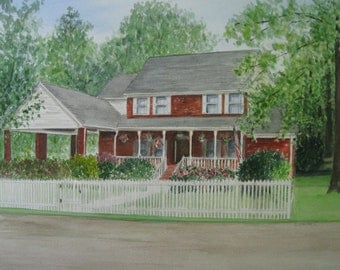 COMMISSIONED WATERCOLOR HOUSE Painting by Suzanne Churchill From Your Photograph, Thoughtful Realtor Closing Gift, Wedding, or Parents Gift
