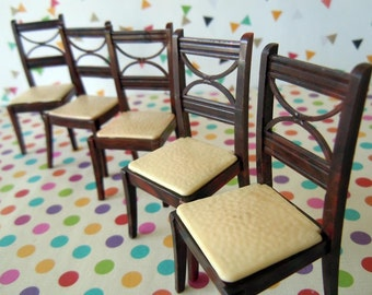 6 Vintage Brown and Cream Dining Room Chairs Miniature Renwal Dollhouse Furniture