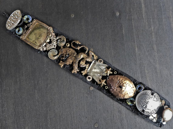 "Antique fabric wrist cuff bracelet with coin, button embellishments - ""Dowager of Bounty"""