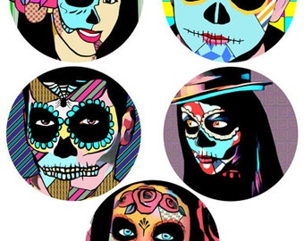 "Day Of The Dead abstract art collage sheet skeletons skull graphics 3.8"" circles digital download images printables dia de los muertos print"