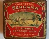 Vintage Collectible Swiss Bergama Cigarette tin box --FJ BURRUS BONCOURT - - Vintage lithographic advertising