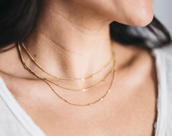 Delicate layering necklaces, vintage, brass, gold, dainty