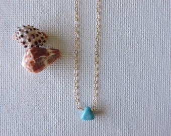 Sea breeze - tiny sleeping beauty turquoise  & gold filled necklace - simple, minimal, everyday petite turquoise necklace