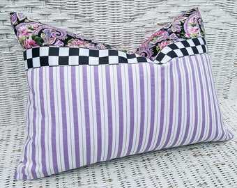 Lavender Striped Pillows, Mauve Striped Cushion Covers, Purple Lumbar Pillow, Lilac Throw Pillows, Whimsical Black White Checks, 14x20