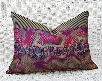Purple Fuchsia Boho Pillows, Bohemian Pillow Covers, Reptile Print Pillow, Blue Gold Magenta Pillow, Unique Pillow Throw Decor, Lumbar 14x20