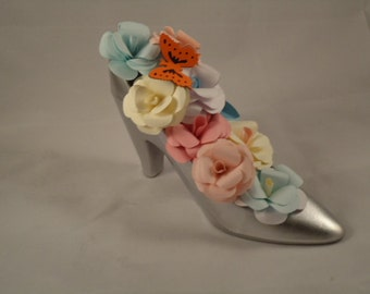 High Heel Shoe Paper Roses Cake Topper Centerpiece Gift