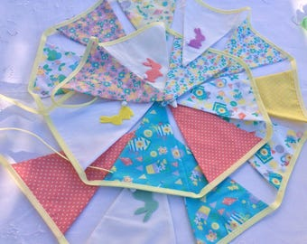 Easter Bunting / 17 flags / Garland - Spring Colours bunnies and chicks, Easter Egg Hunt 10ft long with ties