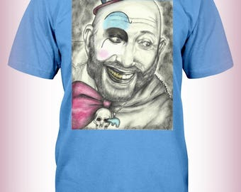 """Portrait T-Shirt : """"Well Shit The Bed"""" - Captain Spaulding Sid Haig House Of 1000 Corpses Devil's Rejects Actor"""
