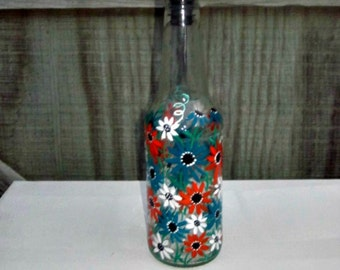 Dish Soap Dispenser,  Recycled Clear Beer Bottle, Painted Glass, Oil and Vinegar Bottle, Turquoise, Orange, and White Flowers