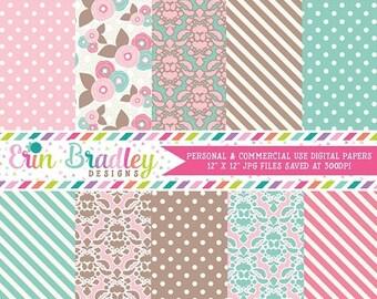 50% OFF SALE Pink Brown & Blue Digital Paper Pack Polka Dots Damask Flowers and Striped Patterns Digital Paper Set Instant Download