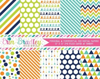 50% OFF SALE Commercial Use Digital Paper Pack Navy Blue Orange & Green Stripes Arrows Polka Dots Chevron Triangle Doodle Patterns