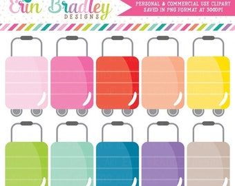 50% OFF SALE Luggage Clipart, Travel Clipart, Commercial Use Clipart Graphics