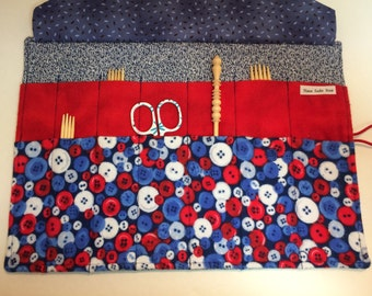 Blue Sock Monkey Knit and Buttons Oressa Double Point Knitting Needle Case