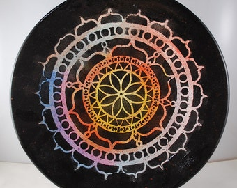 Mandala Pottery Art Large Plate (Colorful)