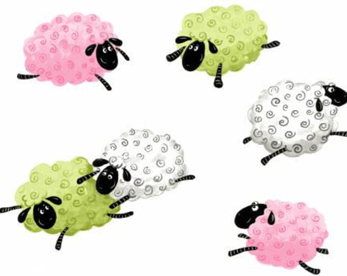 Lal The Lamb Children's Fabric, Pink Leeping Sheep by Suzy Bee