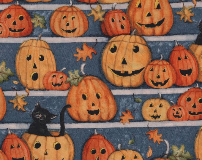 Halloween Fabric, Cotton Halloween Pumpkin Stares Fabric by Springs Creative 43 inches wide