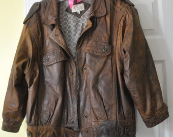 SALE - Vintage Leather Jacket, Womans 1980s Leather Bomber Jacket, Distressed Brown Leather Motorcycle Biker Jacket, Lined insulated Jacket