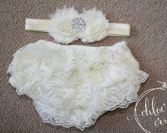 Ivory baby ruffle bum bloomer SET, newborn girl, baby girl, newborn photo prop, newborn outfit, hospital pictures outfit, baby gift