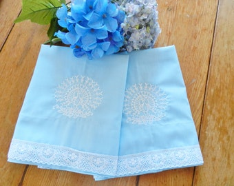 Blue Pillowcases, Peacock Pillowcases, Machine Embroidery, Lace Trim Pillowcases, Vintage Pillowcases