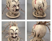 Doll head Orchid pot,  creepy doll head airy cut outs for roots #022017Orchid