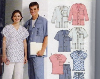 2003 New Look 6307 medical scrubs sewing pattern sizes XS-XL