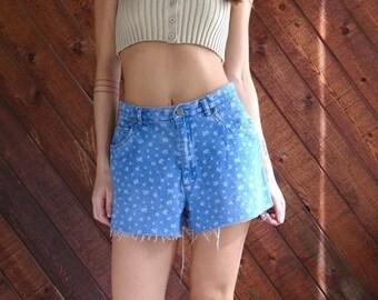 extra 30% off sale . . . Floral Denim High Waist Cut Off Shorts - Vintage 90s - MEDIUM M 6