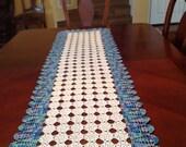 Crochet,patch work,rectangular runner,  ocean blue, white, made by Demet, for   dresser, table, piano